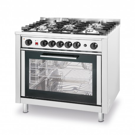 Hendi 5 burners gas cooker with electric oven